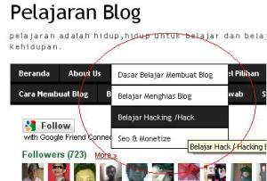 Belajar Membuat Menu Navigasi Sub Menu pada Blogger Blogspot.